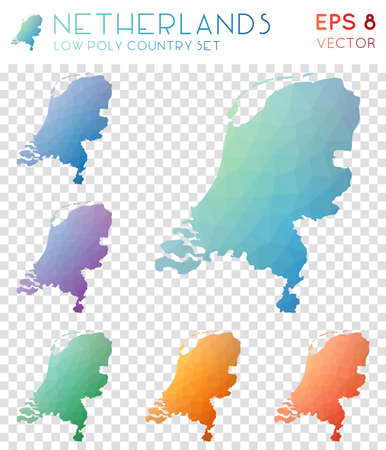 Netherlands geometric polygonal maps, mosaic style country collection. Unique low poly style, modern design. Netherlands polygonal maps for infographics or presentation. Ilustração