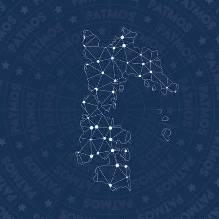 Patmos network, constellation style island map. Fair space style, modern design. Patmos network map for infographics or presentation.