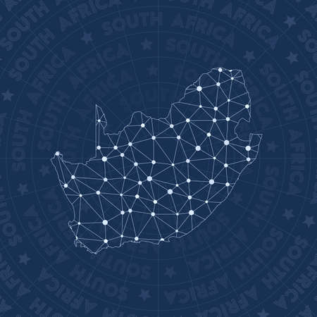South Africa network, constellation style country map. Fancy space style, modern design. South Africa network map for info-graphics or presentation.