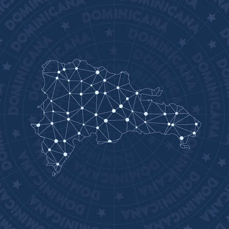 Constellation style country map. Exquisite space style, modern design. network map for infographics or presentation.