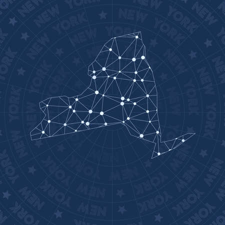 New York network, constellation style us state map. Artistic space style, modern design. New York network map for infographics or presentation. Illustration