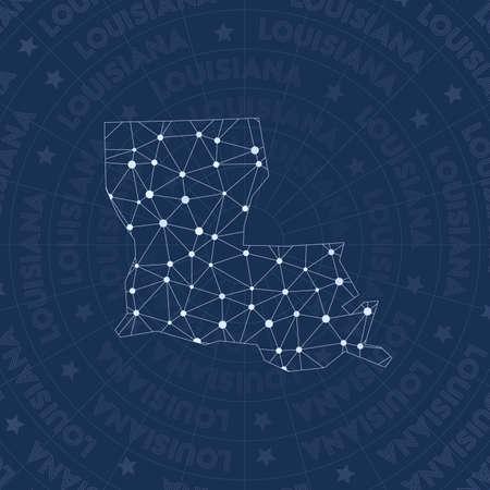 Rete della Louisiana, mappa dello stato degli stati uniti in stile costellazione. Stile spaziale ineguagliabile, design moderno. Mappa di rete della Louisiana per infografica o presentazione.