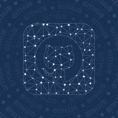 Github squared network symbol. Alive constellation style symbol. Worthy network style. Modern design. Github squared symbol for infographics or presentation.