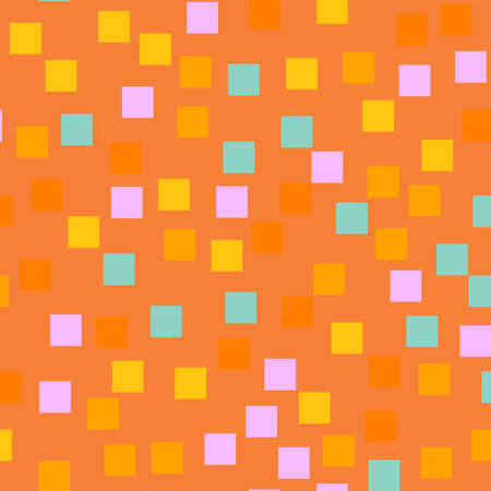 Abstract squares pattern. Orange geometric background. Memorable random squares. Geometric chaotic decor. Vector illustration.