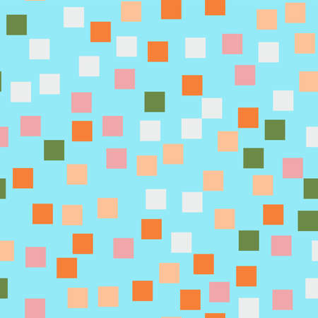 Abstract squares pattern. Blue geometric background. Curious random squares. Geometric chaotic decor. Vector illustration.