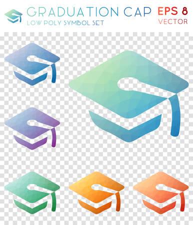 Graduation cap icons set