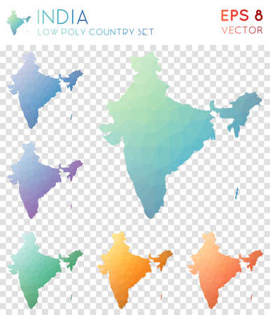 India geometric polygonal maps, mosaic style country collection. Magnetic low poly style, modern design. India polygonal maps for infographics or presentation. Illustration