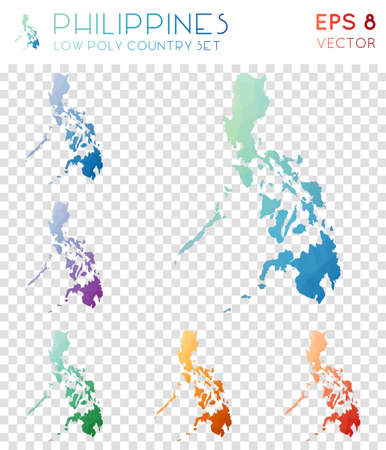 Philippines geometric polygonal maps, mosaic style country collection. Adorable low poly style, modern design. Philippines polygonal maps for infographics or presentation.