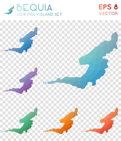 Bequia geometric polygonal maps, mosaic style island collection. Immaculate low poly style, modern design. Bequia polygonal maps for infographics or presentation. Illustration
