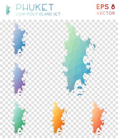 Phuket geometric polygonal map icon set  イラスト・ベクター素材