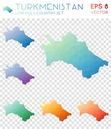 Turkmenistan geometric polygonal map icon set