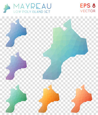 Mayreau geometric polygonal map icon set
