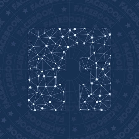Facebook rect network symbol. Alive constellation style symbol. Glamorous network style. Modern design. Facebook rect symbol for infographics or presentation.