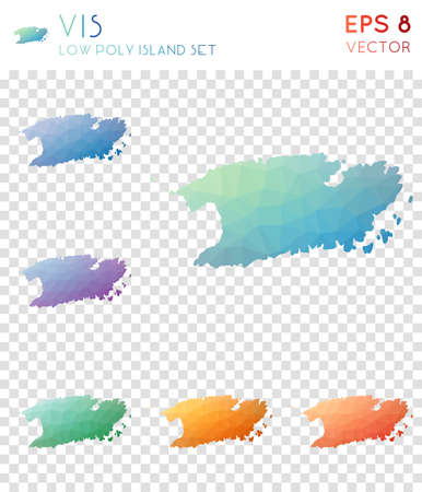 Vis geometric polygonal map icon set 矢量图像