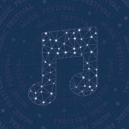 Music notes icon constellation style symbol