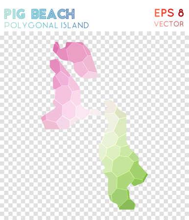 Pig Beach polygonal map design Stock Vector - 100682322