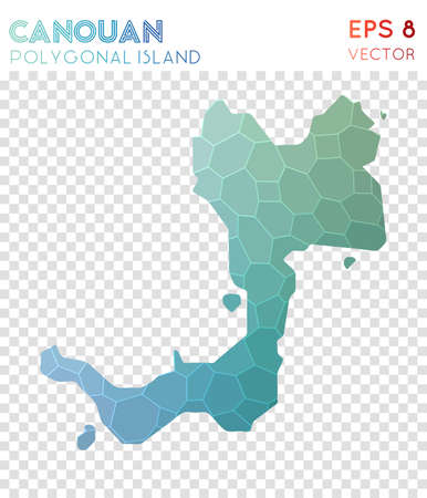Canouan polygonal map, mosaic style island. Lively low poly style, modern design. Canouan polygonal map for infographics or presentation.