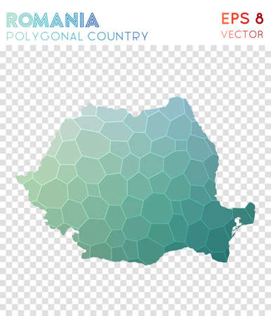 Romania polygonal map design Illustration