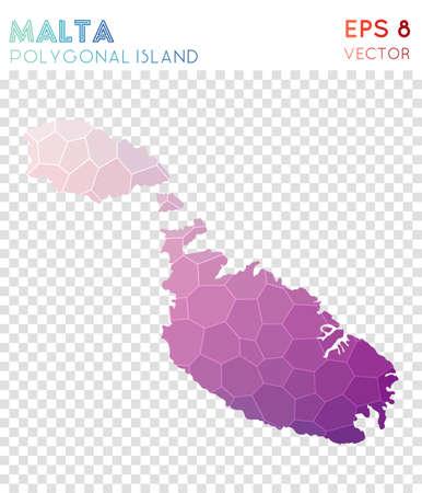 Malta polygonal map, mosaic style island. Curious low poly style, modern design. Malta polygonal map for infographics or presentation.