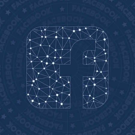 Facebook squared network symbol. Alive constellation style symbol. Gorgeous network style. Modern design. Facebook squared symbol for infographics or presentation.