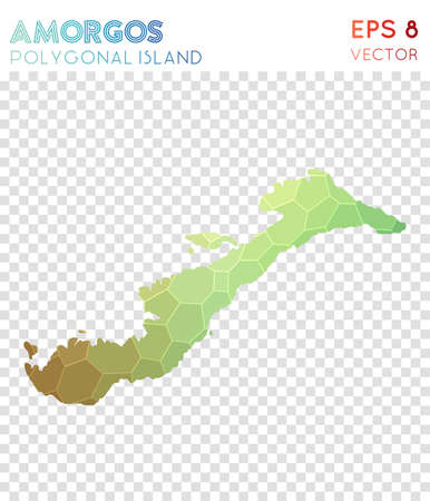 Amorgos polygonal map, mosaic style island. Glamorous low poly style, modern design. Amorgos polygonal map for infographics or presentation.