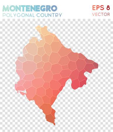 Montenegro polygonal map, mosaic style country. Stunning low poly style, modern design. Векторная Иллюстрация