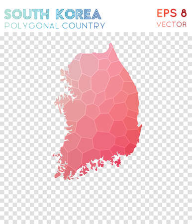 South Korea polygonal map, mosaic style country. Overwhelming low poly style, modern design. South Korea polygonal map for infographics or presentation. Illusztráció