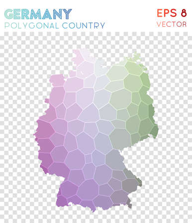 Germany polygonal map, mosaic style country. Exceptional low poly style, modern design. Germany polygonal map for infographics or presentation.
