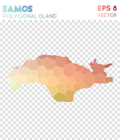 Samos polygonal map, mosaic style island. Likable low poly style, modern design. Samos polygonal map for infographics or presentation.