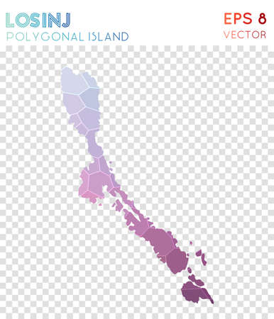 Losinj polygonal map, mosaic style island. Captivating low poly style, modern design. Losinj polygonal map for infographics or presentation. Illustration