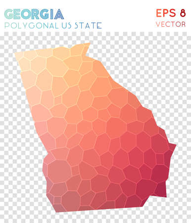 Georgia polygonal map, mosaic style us state. Symmetrical low poly style, modern design. Georgia polygonal map for infographics or presentation.
