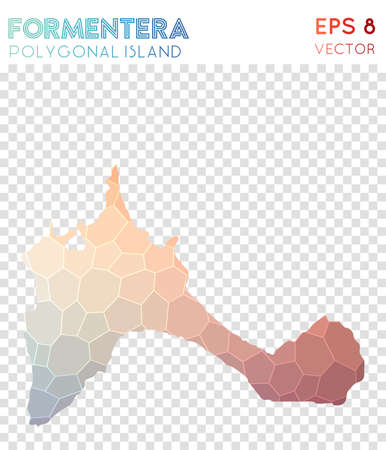 Formentera polygonal map, mosaic style island. Overwhelming low poly style, modern design. Formentera polygonal map for infographics or presentation.