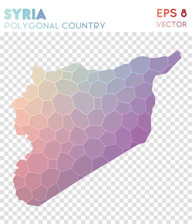 Syria polygonal map, mosaic style country. Decent low poly style, modern design. Syria polygonal map for infographics or presentation. Ilustração
