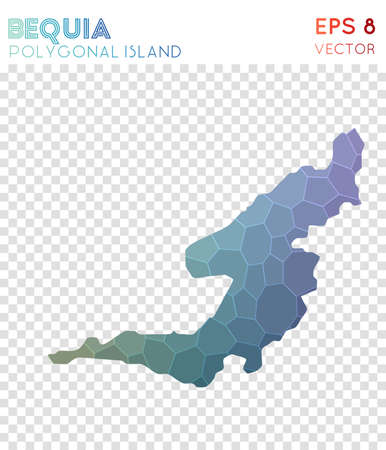 Bequia polygonal map, mosaic style island. Immaculate low poly style, modern design. Bequia polygonal map for infographics or presentation.