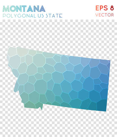 Montana polygonal map, mosaic style us state. Alluring low poly style, modern design. Montana polygonal map for infographics or presentation.