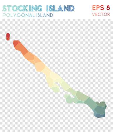 Stocking Island polygonal map, mosaic style island. Optimal low poly style, modern design. Stocking Island polygonal map for infographics or presentation. Illustration