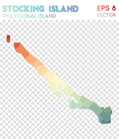 Stocking Island polygonal map, mosaic style island. Optimal low poly style, modern design. Stocking Island polygonal map for infographics or presentation. Stock Vector - 100641281