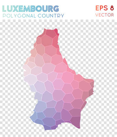 Luxembourg polygonal map, mosaic style country. Quaint low poly style, modern design. Luxembourg polygonal map for infographics or presentation. Illustration