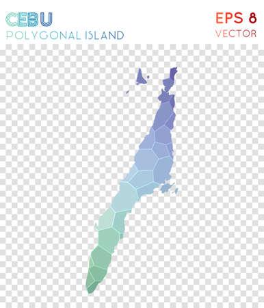Cebu polygonal map, mosaic style island. Magnificent low poly style, modern design. Cebu polygonal map for infographics or presentation.