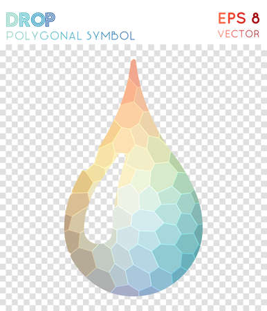 Droplet polygonal symbol. Alluring mosaic style symbol. Radiant low poly style. Modern design. Droplet icon for infographics or presentation.