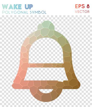 Wake polygonal symbol. Admirable mosaic style symbol. Captivating low poly style. Modern design. Wake icon for infographics or presentation. Illustration