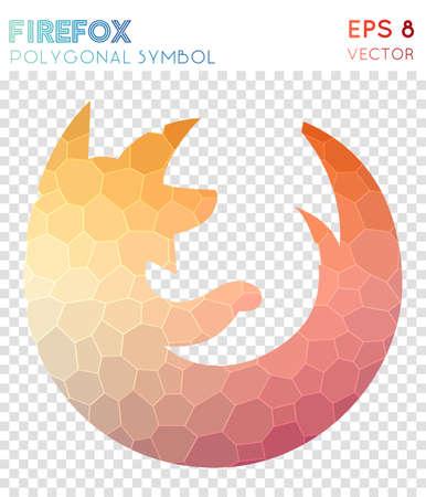 Firefox polygonal symbol. Amazing mosaic style symbol. Splendid low poly style. Modern design. Firefox icon for infographics or presentation.