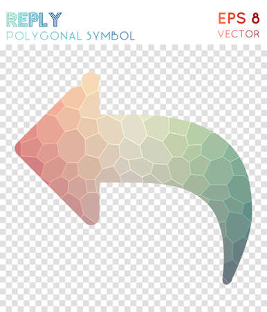 Reply polygonal symbol. Awesome mosaic style symbol. Classy low poly style. Modern design. Reply icon for infographics or presentation. Illustration