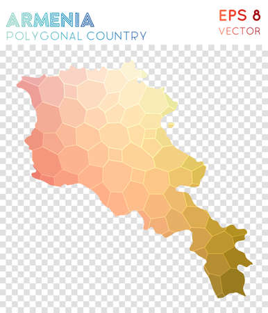 Armenia polygonal map, mosaic style country. Amusing low poly style, modern design. Armenia polygonal map for infographics or presentation. Illustration