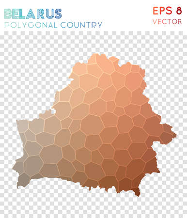 Belarus polygonal map, mosaic style country. Captivating low poly style, modern design. Belarus polygonal map for infographics or presentation.