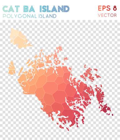 Cat Ba Island polygonal map, mosaic style island. Nice low poly style, modern design. Cat Ba Island polygonal map for infographics or presentation. Illustration