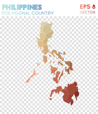 Philippines polygonal map, mosaic style country. Adorable low poly style, modern design. Philippines polygonal map for infographics or presentation.