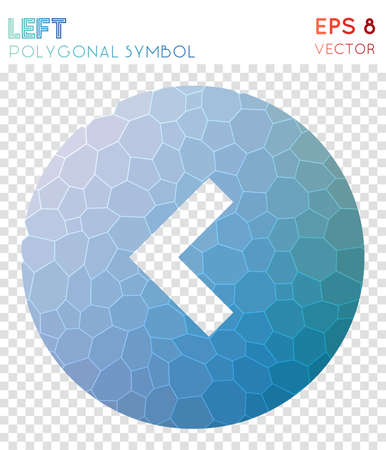 Left circle polygonal symbol. Artistic mosaic style symbol. Fetching low poly style. Modern design. Left circle icon for infographics or presentation.