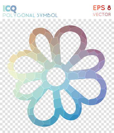 Icq polygonal symbol. Appealing mosaic style symbol. Nice low poly style. Modern design. Icq icon for infographics or presentation.