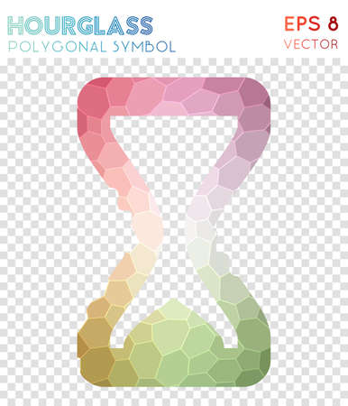 Hourglass polygonal symbol. Appealing mosaic style symbol. Magnificent low poly style. Modern design. Hourglass icon for infographics or presentation. Illustration
